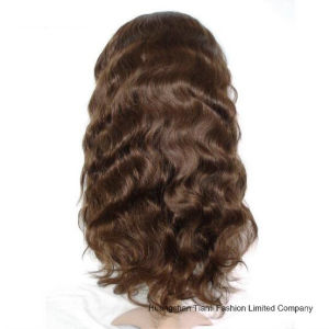 28inch 100% Human Hair Natural Wave Full Lace Wig #1b