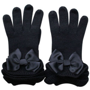 Lady Fashion Ribbon Bow Wool Knitted Winter Warm Gloves (YKY5468-2) pictures & photos