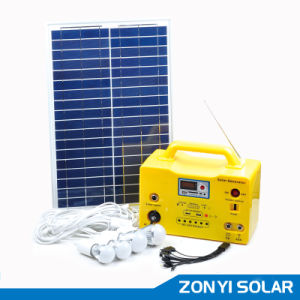 20W Solar DC Light System+MP3/Radio+Fan+4PCS Solar Light (ZY-103R) pictures & photos