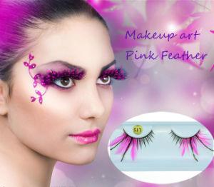 Fashion Creative Makeup Eyelash Stage Cosplay Pink Feather False Eyelashes