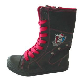 Fashion Canvas Boots for Teenage Girls Wholesale Lace-up Rubber Outsole pictures & photos