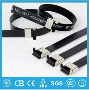UL Listed Plastic Coated Stainless Steel Cable Tie Wing Lock Type pictures & photos