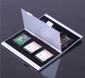 Double Size Multi Function Metal Memory Card Case for SD TF CF SIM Psv Card pictures & photos