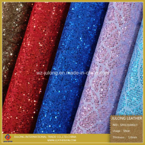 Flower Lace Glitter PU Leather (SP013) pictures & photos