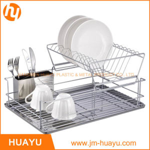 Chrome 2 Tiers Dish Rack with Stainless Steel Drainer Board and Cup