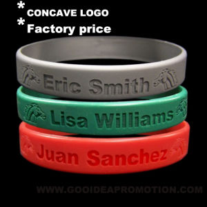 Personalized Silicone Bracelet with Concave Logo pictures & photos