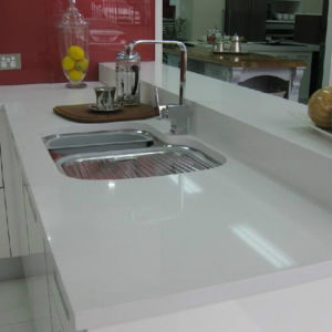 Polished Quartz Stone Kitchen Countertop with Eased Edge pictures & photos