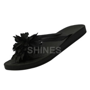 Black Flower Blown PVC Flip Flop for Women