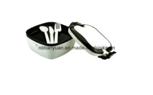 Lunch Box with PP Fork and Spoon Utensils