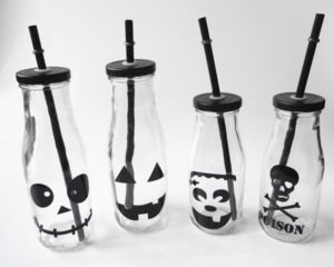 Factory Wholesale Price Decal Glass Milk Beverage Bottle for Halloween Festival pictures & photos