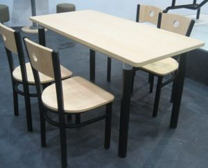 Cheap Wood Steel 4 Seater Dining Table and Chair pictures & photos