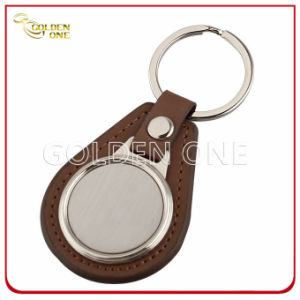 Promotion Gift Leather Key Fob with Blank Brush Metal pictures & photos
