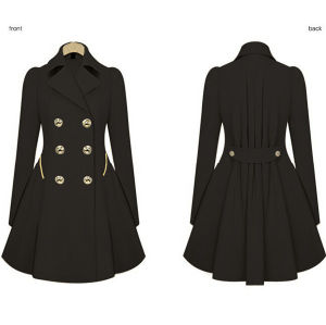 Korean Style Slim Fitting Polyester Women Overcoat (50107-3) pictures & photos
