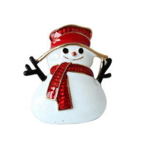 Factory Direct Sale Christmas Enameled Snowman Brooch Pins for Xmas