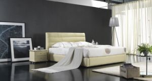 2012 New Design Elegant Soft Bed with Thin Genuine Leather and Match up with Two Night Stand (6065) pictures & photos