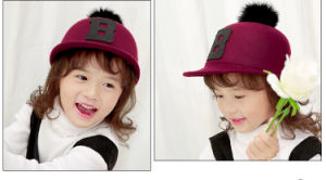 Child Baby Kids Autumn Winter Peak Hunting Hat Pompom Ball Equestrian Caps pictures & photos