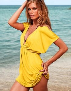 Hot Summer Holiday Gift Brazil Onlmpic Game Fashion 2012 Fashion Beach Party Sexy V Swimwear Cotton Smooth Bikini Cover up Shirt Beach Dress (BD-12006)