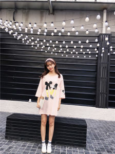 Korean Cartoon Graphic All-Match Relax Cutey Floral Students Long T-Shirt pictures & photos