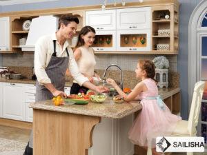Modern German Home Hotel Furniture Island Wood Kitchen Cabinet pictures & photos