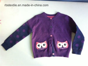 Girls Purple Owl - True Knitted Cardigan pictures & photos