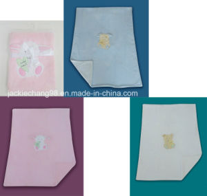Micro Fleece Baby Blanket Embroidery Throw pictures & photos