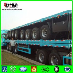 40FT Tri-Axle Heavy Duty Flatbed Truck Trailer with Container Twist Locks pictures & photos