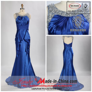 Beaded Scoop Neckline Floor Length Chapel Train Silk Satin Evening Dress (TY029)