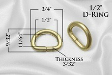 "1/2"" Metal D Rings Dee Rings Non Welded - Gold - 10 PCS - Free Shipping pictures & photos"