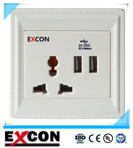 Excon Wall Socket with Double USB Socket