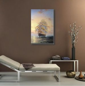 Art Painting of The Saling Boat in Sunset pictures & photos
