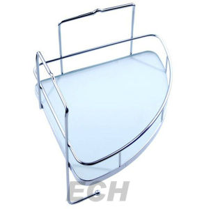 Stainless Steel Bathroom Glass Corner Shelf