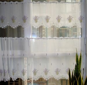 Cafe Curtain Embroidery Lavender Design Light Purpule Color St115 pictures & photos