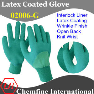 Green Interlock Glove with Dark Green Latex Wrinkle Half Coating & Open Back & Knit Wrist pictures & photos