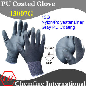 13G Gray Nylon/Polyester Knitted Glove with Gray PU Smooth Coating/ En388: 4131 pictures & photos