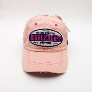 Stone Washed Unstructured Worn-out Dad Baseball Cap with Fabric Embroidery Patches pictures & photos