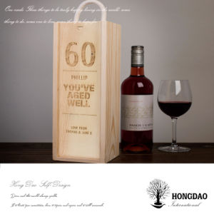 Hongdao Customized Engraved Logo Natural Color Wooden Wine Gift Storage Box with Handle _E pictures & photos