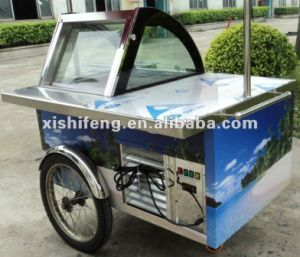 Xsflg-Moveable Ice Cream Cart/Gelato Refrigerated Chiller Cartce Approve pictures & photos