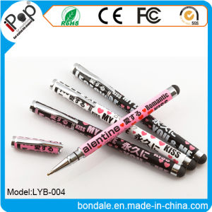 Ballpoint Pen Metal Stylus Pen 2 in 1 Love Stylus for Touch Panel Equipment