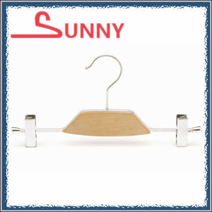 Metal Pant Hanger with Chrome Clips and Wood