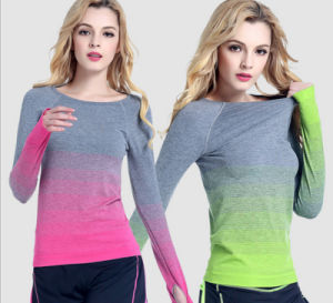 Polyester Spandex Long Sleeve Bodybuilding Custom Women Yoga T Shirt pictures & photos