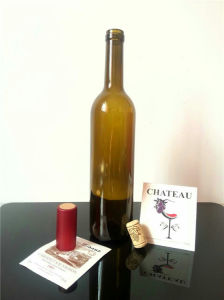 Screen Printing Surface Handling and Cork Sealing Type Glass Wine Bottle 750ml