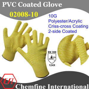 10g Yellow Polyester/Acrylic Fiber Knitted Glove with 2-Side Yellow PVC Criss-Cross Coating/ En388: 124X pictures & photos
