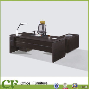 Fashion Large Melamine Wood Office Executive Table with Side Cabinet pictures & photos