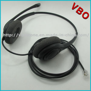 Telecommunication Telephone Headset for Call Center with Rj Jack and Foam Ear Cushion pictures & photos