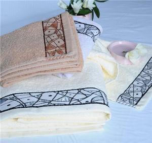 Picasso Cotton Satin File Jacquard Towels Sets With Unique Pattern Cu-431