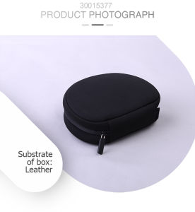 Customized Round Black/Leather Earphones Packing Bag with Durable Zippered pictures & photos