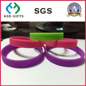 Cheap Custom Debossed/Embssed/Print Silicone Wristband (KSD-871) pictures & photos