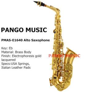 Pango Music Eb Key Gold Alto Saxophone (PMAS-E1640) pictures & photos