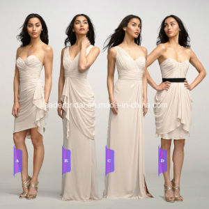 Beige Chiffon Evening Gowns Short Long Bridesmaid Dress Y103 pictures & photos