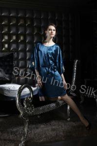 Dark Blue Silk Kimono Style Dress
